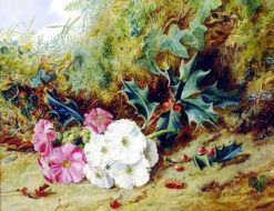 Still Life of Holly and Primroses | George Clare | Oil Painting