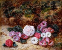 Camellias and Primulas | George Clare | Oil Painting