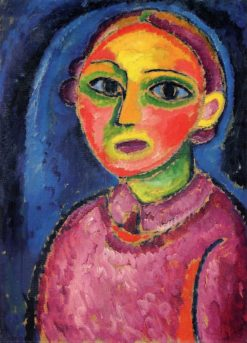 Bust of a Woman in a Red Robe | Alexei von Jawlensky | Oil Painting