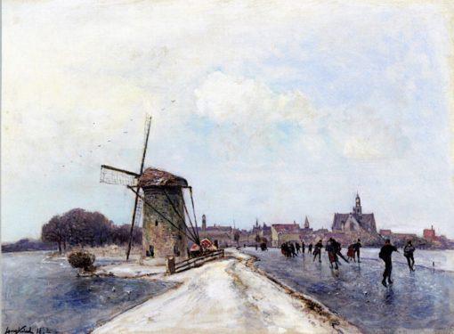 Skaters at Maassluis | Johan Barthold Jongkind | Oil Painting