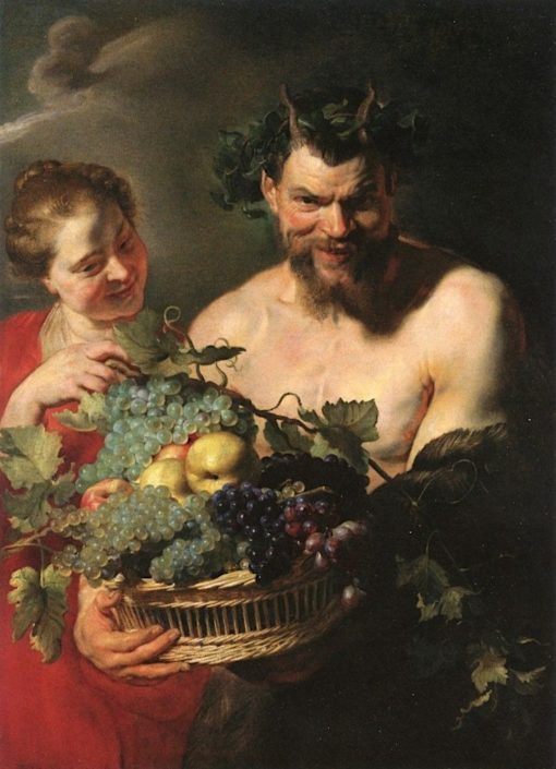 A Satyr Holding a Basket of Grapes and Quinces with a Nymph | Peter Paul Rubens | Oil Painting