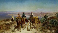 An arab caravan above Tunis | Edmund Berninger | Oil Painting
