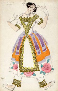 Costume Design for 'La nuit ensorcelée'/ MIreille | Léon Bakst | Oil Painting