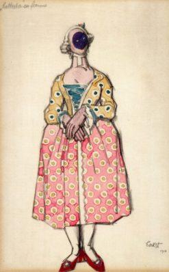 Costume Design for 'Les Femmes de bonne Humeur': Battista en femme | Léon Bakst | Oil Painting