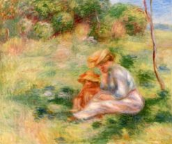 Woman and Child in the Grass | Pierre Auguste Renoir | Oil Painting
