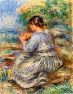 Girl Seated in a Landscape | Pierre Auguste Renoir | Oil Painting