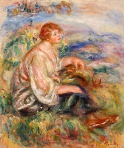 Woman in Tulle Blouse and Black Skirt   Pierre Auguste Renoir   Oil Painting