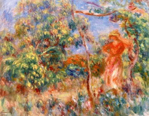 Woman in Fed in a Landscape | Pierre Auguste Renoir | Oil Painting
