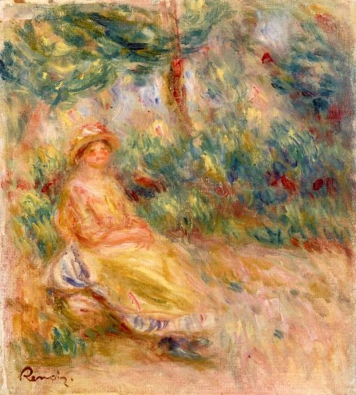Woman in Pink and Yellow in a Landscape | Pierre Auguste Renoir | Oil Painting
