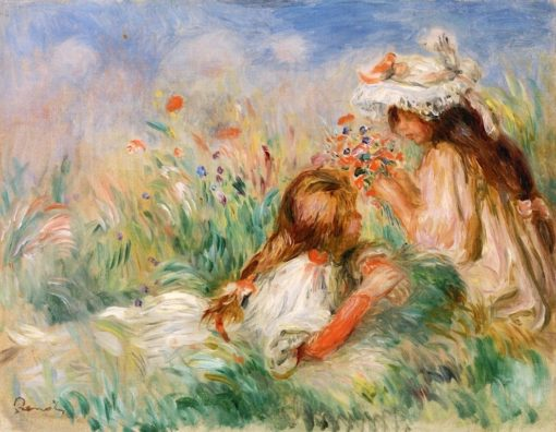 Girls in the Grass Arranging a Bouquet | Pierre Auguste Renoir | Oil Painting