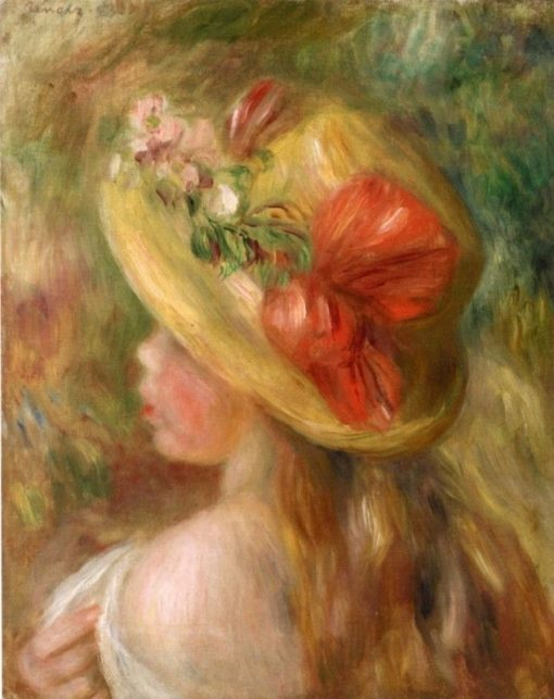 Young Girl with Hat | Pierre Auguste Renoir | Oil Painting
