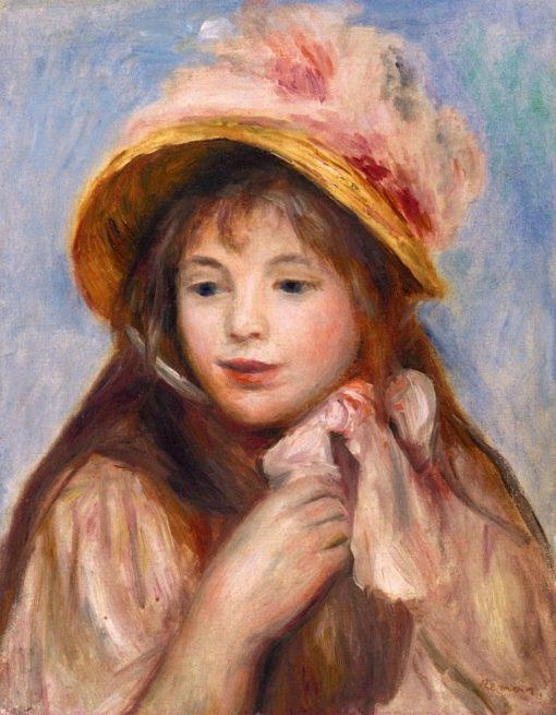 Girl with Pink Bonnet | Pierre Auguste Renoir | Oil Painting