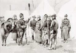 At the Mouth of Rapid Creek - General Carr Receiving the Report of a Scout | Frederic Remington | Oil Painting